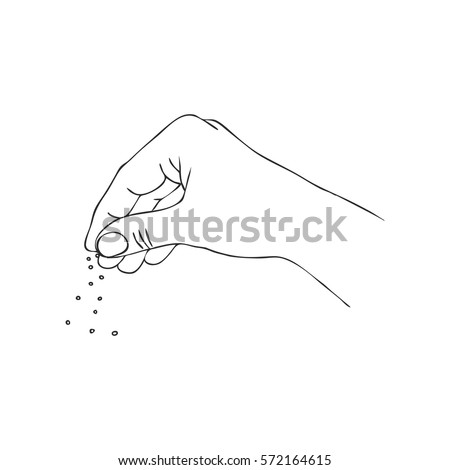 cooking hand with salt, line drawing isolated symbol at white background
