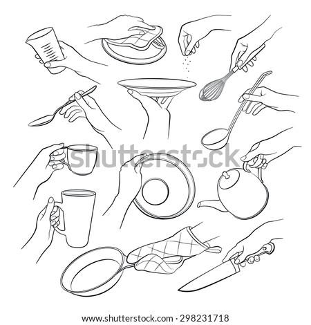 Cooking hands outlines isolated on white background. Woman hands holding kitchen items. Teapot, cup, knife, spoon, ladle, lid, whisk, plate, pan.