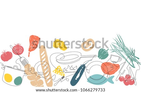 Stock Photo Cooking Horizontal Pattern. Utensils and Food Background.  Vegetables, Meat, Baking Produkts set. Continuous Drawing Cutlery. Vector illustration.