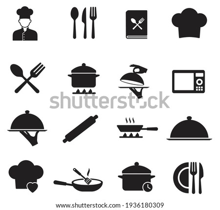 Cooking icon set. contain chef hat, oven, Hand holding food tray, Pot, Frying pan and Kitchen utensils. Cooking recipe book and more, Vector illustration