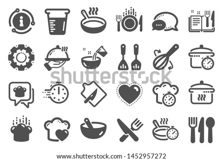 Cooking icons. Boiling time, Frying pan and Kitchen utensils. Fork, spoon and knife icons. Recipe book, chef hat and cutting board. Cooking book, frying time, hot pan. Quality set. Vector