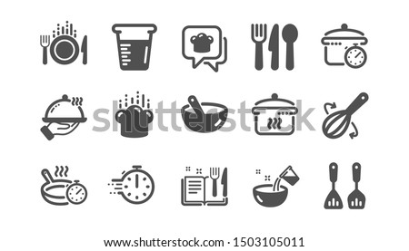 Cooking icons. Boiling time, Frying pan and Kitchen utensils. Fork, spoon and knife icons. Recipe book, chef hat and cutting board. Classic set. Quality set. Vector