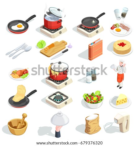 Cooking icons isometric set of sixteen isolated images of food dishes spice kitchenware and cook character vector illustration