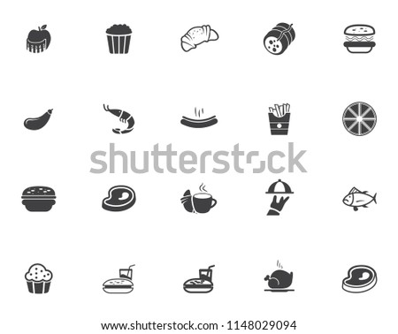 cooking icons set - food Icons for restaurant and kitchen sign and symbol - vector illustrations