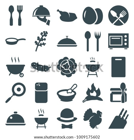 Cooking icons. set of 25 editable filled cooking icons such as egg, cabbage, deel, chili, turkey, porridge, cutting board, fork and spoon, barbeque, cucumber, dish