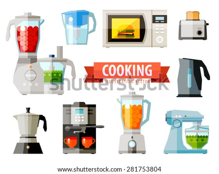 cooking icons set of elements