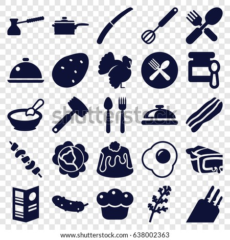 Cooking icons set. set of 25 cooking filled icons such as potato, cabbage, deel, turkey, dish, baby food, porridge, cucumber, pie, kebab, fork and spoon, gardening knife