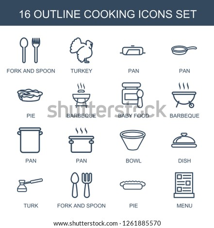 cooking icons. Trendy 16 cooking icons. Contain icons such as fork and spoon, turkey, pan, pie, barbeque, baby food, bowl, dish, turk, menu. cooking icon for web and mobile.