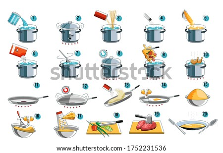 Cooking instruction. Cook icon guide for food menu design with kithcen symbol. Preparation instruction for boil and fry mix food from noodle and pasta to meat and vegetables. Cooking prepare step set.