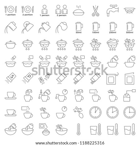 cooking instruction outline icon, material for use in package and container editable stroke