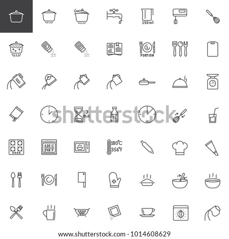 Cooking instructions line icons set, outline vector symbol collection, linear style pictogram pack. Signs, logo illustration. Set includes icons as cooking utensils, pan, pot, stove, kettle, oven