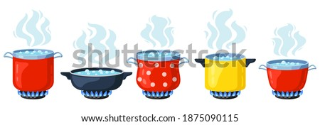 Cooking kitchen pots. Cartoon boiling saucepan, cooking soup boiling on gas stove. Boiling steamed water vector illustration set. Cooking pot with smoke, saucepan isolated preparation