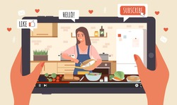 Cooking Live Streaming. Hands hold tablet with video, blogger prepares meal online, woman cooks homemade food, blog apps icons, vlog or show channel with culinary tutorial, vector cartoon concept