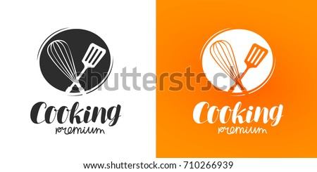 Cooking logo or label. Cuisine, cookery icon. Vector illustration