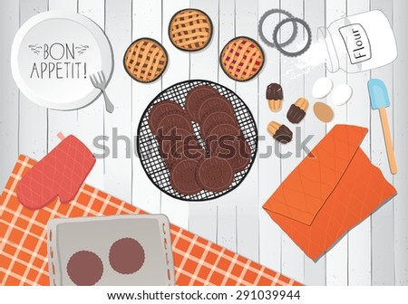 Cooking pastries, preparation icons on table.