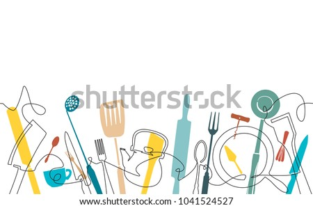 Cooking Pattern. Background for your design works. One Line Drawing of Isolated Kitchen Utensils. Backdrop with cutlery. Vector illustration.