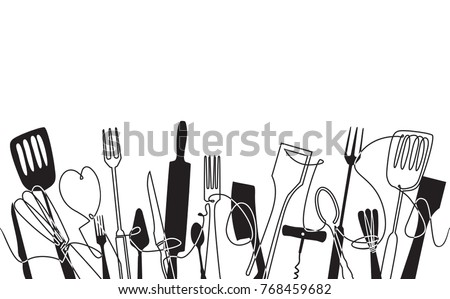 Cooking Pattern for your design works.  Cutlery Background. One Line Drawing of Isolated Kitchen Utensils. Cooking  Poster. Black and white style. Vector illustration. ストックフォト ©