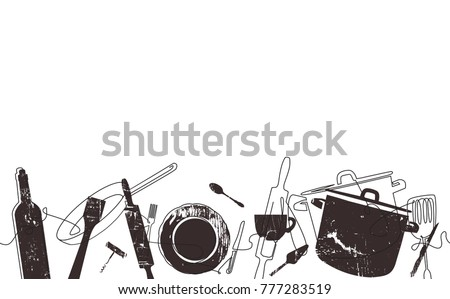 Cooking  Pattern. Outline Cutlery Background. One Line Drawing of Isolated Kitchen Utensils. Cooking Design Poster. Vector illustration.