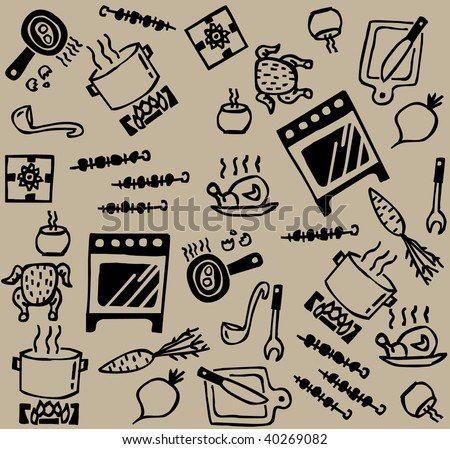 Cooking pattern Seamless pattern with set of cook and food objects. Vector illustration.