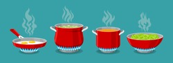 Cooking pot and pan on gas stove. Boiled water in pots, pasta in saucepan and scrambled eggs in dripping pan, vector illustration for kitchen cook