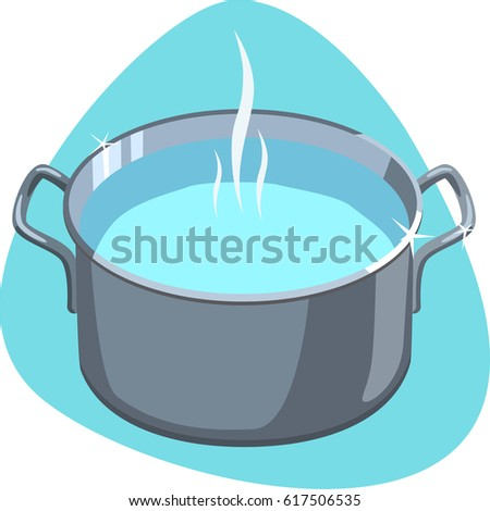 Cooking pot with hot water. Clean stainless pot. Isolated. On blue background.