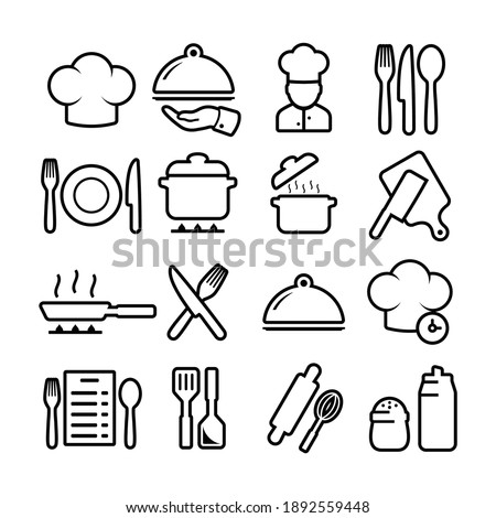 Cooking related icon set. Utensils linear icons. Signs cooking vector and collection.