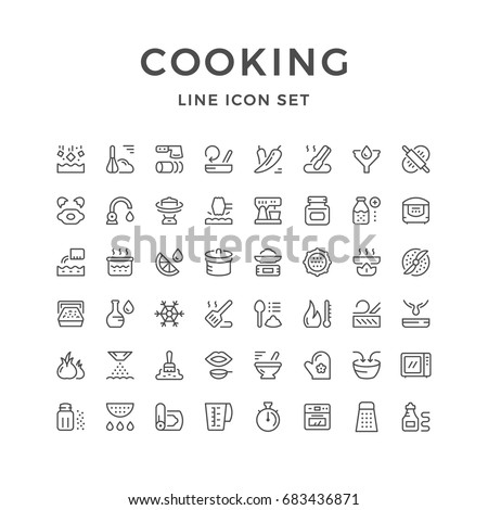 Cooking related set line icons isolated on white. Contains such icons as kitchen appliances, recipe symbols, food products, cooking tools and accessories, dishes and more. Vector illustration