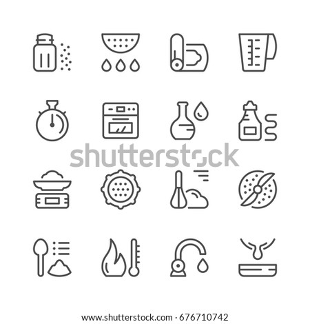 Cooking related set line icons isolated on white. Contains such icons as salt shaker, colander, ketchup, tap, oven, kitchen scales, whisk, oil bottle, meat grinder and more. Vector illustration