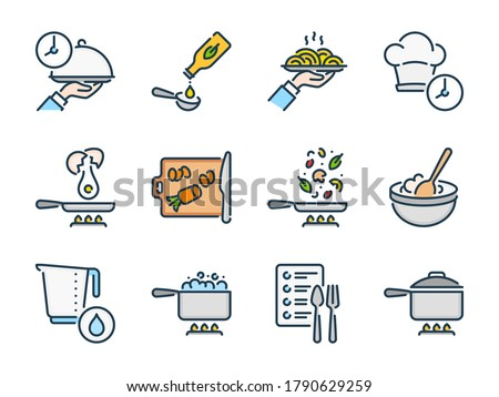 Cooking related vector color line icon set. Meal Cooking and Kitchen Equipment colorful icons. Food and Kitchen Utensils icon collection.