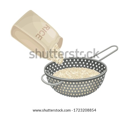 Cooking Rice Process with Grain Sieving and Washing in Strainer Vector Illustration Stock photo ©