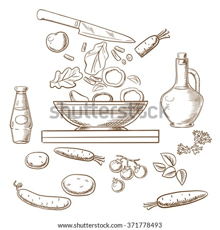 cooking salad process showing