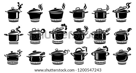 Cooking saucepan steam icon set. 18 Logo in simple style with kitchen process. Tasty smell from stove of chief. Warm comfort and tasty food. Vector illustration of first course from haute kitchen star