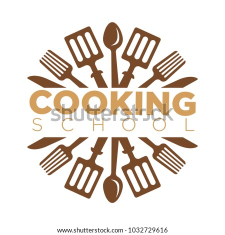 Cooking school class vector icon template of cook kitchen chef utensils Stock photo ©