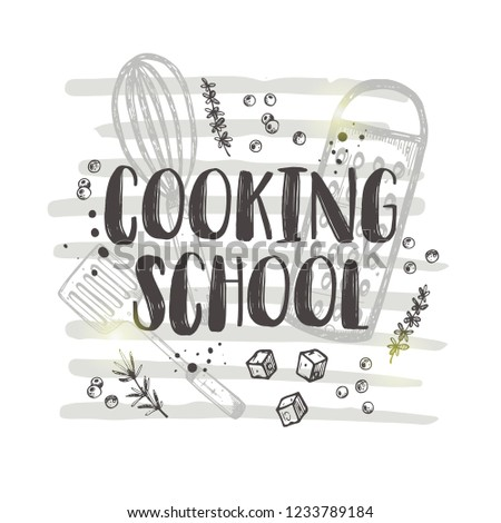 Cooking school concept design. Culiary courses. Hand drawn vector illustration. Can be used for logo, bakery, street festival, farmers market, country fair, shop, kitchen classes, cafe, food studio.