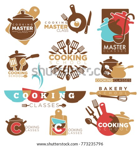 Cooking school master class bakery chef vector isolated icons templates