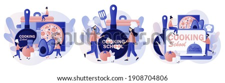Cooking school - text on kitchen frying pan. Culinary master class online. Tiny chef in hat with kitchen tools and foods. Modern flat cartoon style. Vector illustration on white background Stockfoto ©