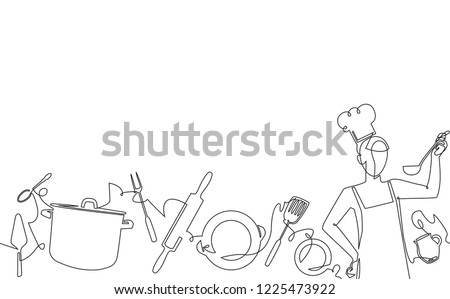 Cooking Seamless Pattern. Background with Empty Spase for Text . Continuous drawing style. Vector illustration.