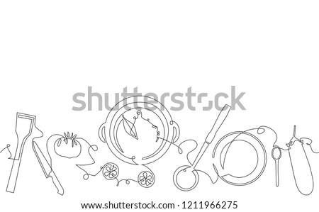 Cooking seamless pattern. Background with utensils and food. Pot with soup, kitchen cutlery and vegetables. Continuous drawing style. Vector illustration.