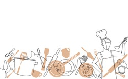 Cooking Seamless Pattern. Cutlery Background with Empty Spase for Text . One Line Drawing of Isolated Kitchen Utensils and Person who Cook.  Vector illustration.
