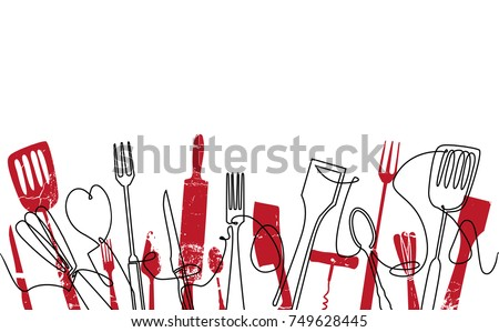 Cooking Seamless Pattern. Outline Cutlery Background. Trendy One Line Drawing.  Isolated Kitchen Utensils. Cooking Design Poster. Vector illustration.