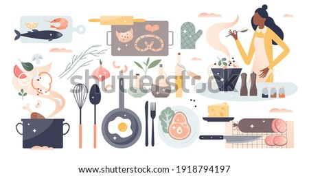 Cooking set as household kitchen food preparation items tiny person concept. Object collection with chef, kitchenware, dishes, diner ingredients prep process as domestic catering vector illustration.