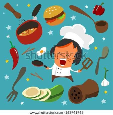 cooking set flat. hand drawn Vector illustration