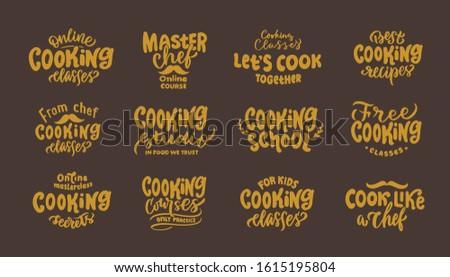 Cooking. Set of vintage retro handmade badges, labels and logo elements, symbols, phrases, slogans for cooking school, sooking studio, bakery shop. Vector illustration Stock fotó ©