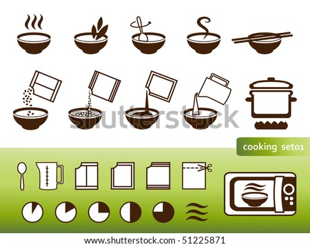 Cooking signs, for manuals on packing - stock vector