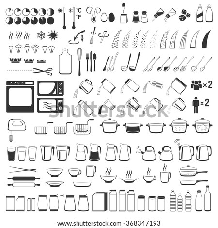 Cooking signs, for manuals on packing. Preparing instruction icons set.