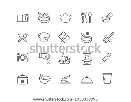 Cooking simple thin line icon vector illustration. Cook book, cooking time, mixed, pepper and salt, fork and spoon, pan, board and knife and more.