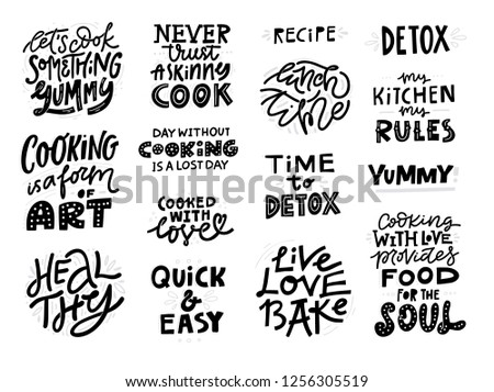 Free Quotes About Food Vector Illustration With Hand Drawn Elements