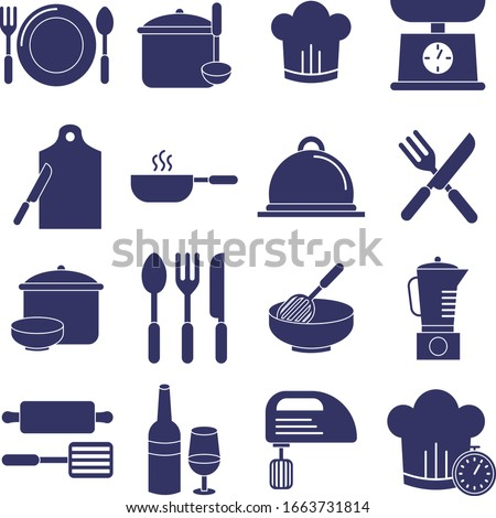 Cooking Solid icon set. Set of solid icons on white background. Kitchenware concept. Knife, frying pan, stewing. Vector illustration can be used for topics like cooking, food, kitchen. Editable Stroke
