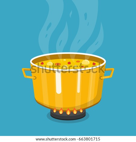 Cooking soup in pan. Pot on stove with steam. Flat cartoon style. Vector illustration.