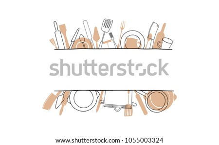 Cooking Template Frame with Hand Drawn Utensils and Plase for your Text. Background with Cutlery for Design Works. Vector  illustration.